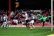 Aston Villa midfielder Andre Green (19) with a shot on goal during the EFL Sky Bet Championship match between Brentford and Aston Villa at Griffin Park, London, England on 31 January 2017. Photo by Matthew Redman.