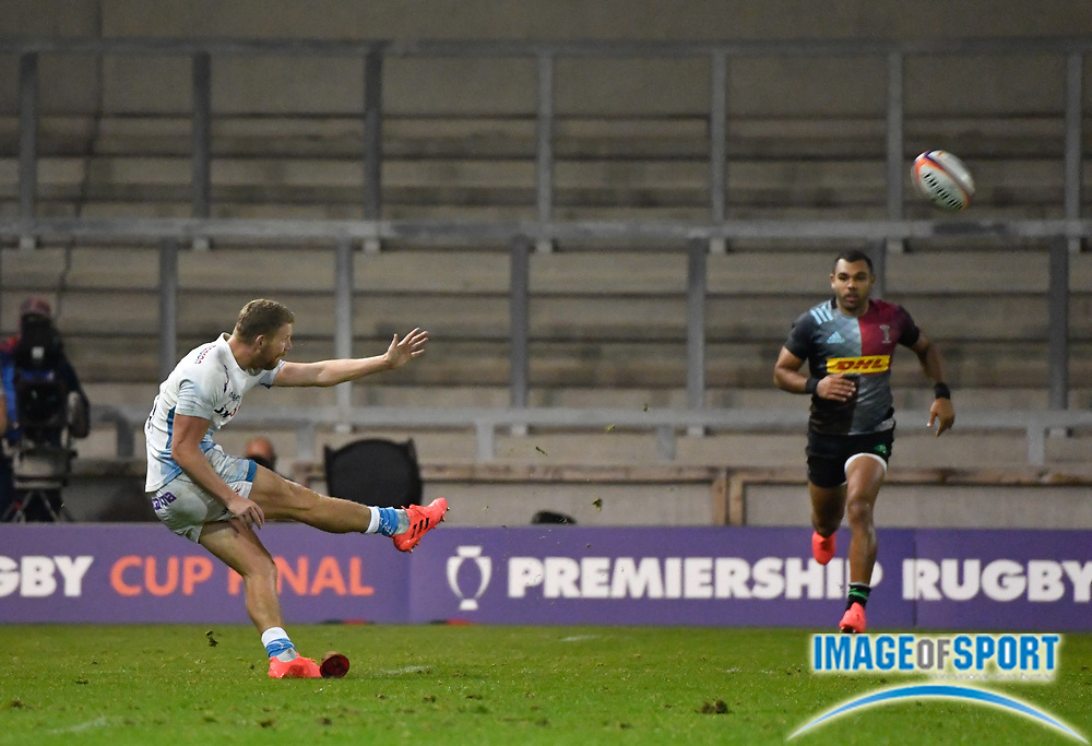 Sale Sharks fly-half Rob Du Preez kicks the conversion to secure the victory 27-19 during The Premiership Rugby Cup Final at The AJ Bell Stadium, Eccles, Greater Manchester, United Kingdom, Monday, September 21, 2020. (Steve Flynn/Image of Sport)