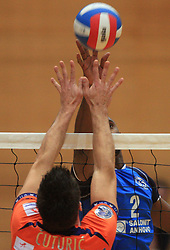 Jasmin Cuturic and Tevares Luz Andre at finals of Slovenian volleyball cup between OK ACH Volley and OK Salonit Anhovo Kanal, on December 27, 2008, in Nova Gorica, Slovenia. ACH Volley won 3:2.(Photo by Vid Ponikvar / SportIda).