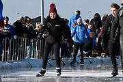 De Hollandse 100 op FlevOnice, een sportief evenement ter ondersteuning van onderzoek naar lymfeklierkanker. Een oer-Hollandse duatlon bestaande uit twee onderdelen: schaatsen en fietsen. <br /> <br /> The Dutch 100 on FlevOnice, a sporting event to support research into lymphoma. A traditional Dutch duathlon consisting of two components: skating and cycling.<br /> <br /> Op de foto: Rosanna Kluivert