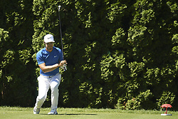 June 21, 2018 - Cromwell, CT, USA - Harris English reacts to his tee shot on the ninth hole during the first round of the Travelers Championship on Thursday, June 21, 2018 at TPC River Highlands in Cromwell, Conn. (Credit Image: © John Woike/TNS via ZUMA Wire)