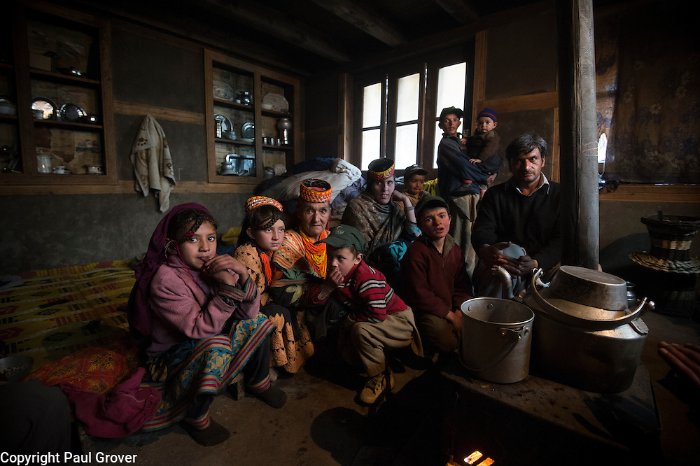 Bumburet, Chitral District,Pakistan.Pic Shows A Kalash family in their home  in the valley of Bumburet