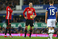 Zlatan Ibrahimovic of Manchester United prepares to take a free kick. Premier league match, Everton v Manchester United at Goodison Park in Liverpool, Merseyside on Sunday 4th December 2016.<br /> pic by Chris Stading, Andrew Orchard sports photography.
