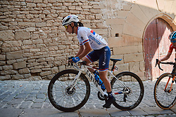 Jelena Eric (SRB) battles up the cobbled climb at the 2020 Clasica Feminas De Navarra, a 122.9 km road race starting and finishing in Pamplona, Spain on July 24, 2020. Photo by Sean Robinson/velofocus.com