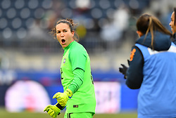 February 27, 2019 - Chester, PA, U.S. - CHESTER, PA - FEBRUARY 27: Brazil Keeper Aline (12) celebrates after a goal for Brazil in the first half during the She Believes Cup game between Brazil and England on February 27, 2019 at Talen Energy Stadium in Chester, PA. (Photo by Kyle Ross/Icon Sportswire) (Credit Image: © Kyle Ross/Icon SMI via ZUMA Press)