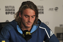May 12, 2019 - Madrid, MADRID, SPAIN - Stefanos Tsitsipas (GRE) in press conference during the Mutua Madrid Open 2019 (ATP Masters 1000 and WTA Premier) tenis tournament at Caja Magica in Madrid, Spain, on May 11, 2019. (Credit Image: © AFP7 via ZUMA Wire)