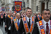 Orangemen from the Grand Orange Lodge of England, Parade to mark H.M. The Queen's 90th Birthday on June 16th 2016 in London, United Kingdom. The Loyal Orange Institution, more commonly known as the Orange Order, is a Protestant fraternal organisation based primarily in Northern Ireland.