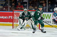 KELOWNA, BC - FEBRUARY 15:  Artyom Minulin #5 and Max Palaga #31 of the Everett Silvertips defend the net against the Kelowna Rockets at Prospera Place on February 15, 2019 in Kelowna, Canada. (Photo by Marissa Baecker/Getty Images)
