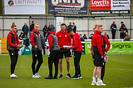Watford players on the pitch before the The FA Cup 3rd round match between Woking and Watford at the Kingfield Stadium, Woking, United Kingdom on 6 January 2019.