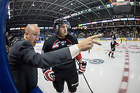 KELOWNA, CANADA - SEPTEMBER 5: Mike Hengen, assistant coach of the Prince George Cougars stands on the bench and speaks to Chase Witala #8 of Prince George Cougars as they take on the Kelowna Rockets on September 5, 2015 during the first pre-season game at Prospera Place in Kelowna, British Columbia, Canada.  (Photo by Marissa Baecker/Shoot the Breeze)  *** Local Caption *** Mike Hengen; Chase Witala;