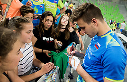 Jan Kozamernik of Slovenia with his fans after the volleyball match between National teams of Slovenia and Portugal in 2nd Round of 2018 FIVB Volleyball Men's World Championship qualification, on May 26, 2017 in Arena Stozice, Ljubljana, Slovenia. Photo by Vid Ponikvar / Sportida