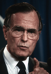 January 1, 1989 - Washington, District of Columbia, U.S - President George H.W. Bush answers reporters questions during a short news conference in the press briefing room of the White  House .Photo taken 1989 (Credit Image: © Mark Reinstein via ZUMA Wire)