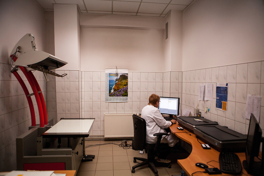 The Auschwitz  Museum Preservation Department - in this part of the department preserved documents are getting scanned and digitalized.