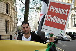 April 5, 2017 - London, United Kingdom - Anti-Assad protestors hold a demonstration outside The National Liberal club in London, where members of the Assad regime are giving a speech, on April 5, 2017. (Credit Image: © Jay Shaw Baker/NurPhoto via ZUMA Press)