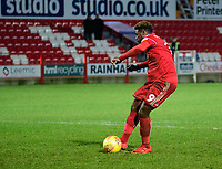 Accrington Stanley's Offrande Zanzala scores during the penalty shoot out<br /> <br /> Photographer Andrew Vaughan/CameraSport<br /> <br /> The EFL Checkatrade Trophy Second Round - Accrington Stanley v Lincoln City - Crown Ground - Accrington<br />  <br /> World Copyright © 2018 CameraSport. All rights reserved. 43 Linden Ave. Countesthorpe. Leicester. England. LE8 5PG - Tel: +44 (0) 116 277 4147 - admin@camerasport.com - www.camerasport.com