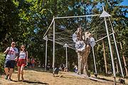 An umbrella sculpture in the Faraway Forest - The 2018 Latitude Festival, Henham Park. Suffolk 14 July 2018