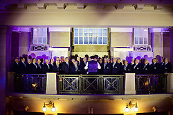 CARDIFF, WALES - Wednesday, August 31, 2016: A choir sings as quests arrive for a gala dinner at the Cardiff Museum to launch the UEFA Champions League Finals 2017 to be held in Cardiff. (Pic by David Rawcliffe/Propaganda)