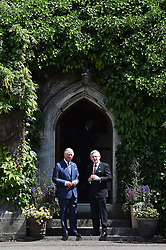 The Prince of Wales speaks with Professor Patrick O'Shea, President of UCC during a visit to University College Cork as part of his tour of the Republic of Ireland.