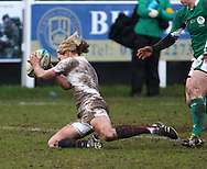 29 Feb 2010 Esher, Surrey: Claire Allan of England scores a try during the Women's Six Nations game between England and Ireland at Esher Rugby Club (photo by Andrew Tobin/SLIK images)