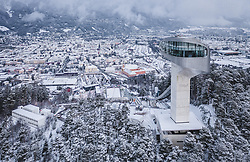 03.01.2019, Bergiselschanze, Innsbruck, AUT, FIS Weltcup Skisprung, Vierschanzentournee, Innsbruck, im Bild die Bergisel Schanze und Innsbruck aus der Luft aufgenommen // Arial View of the Bergisel Hill with Stadium and the City of Innsbruck during the Four Hills Tournament of FIS Ski Jumping World Cup at the Bergiselschanze in Innsbruck, Austria on 2019/01/03. EXPA Pictures © 2019, PhotoCredit: EXPA/ JFK