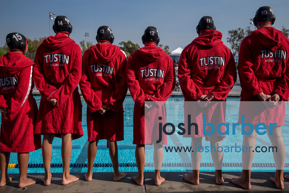 Tustin stands for introductions before the CIF-SS Division 6 Final against Valley View at William Woollett Jr. Aquatic Center on Saturday, November 10, 2018 in Irvine, Calif. Valley View won 10-9. (Photo by Josh Barber, Contributing Photographer)