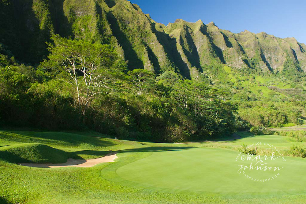 Green below the Koolau Mountains, Koolau Golf Course, Oahu, Hawaii<br /> <br /> ***Property Release available