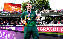 Alex Hales of Nottinghamshire with the Royal London One-Day Cup Trophy after his sides win over Surrey - Mandatory by-line: Robbie Stephenson/JMP - 01/07/2017 - CRICKET - Lord's Cricket Ground - London, United Kingdom - Nottinghamshire v Surrey - Royal London One-Day Cup Final 2017