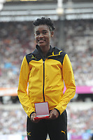 Athletics - 2017 IAAF London World Athletics Championships - Day One<br /> <br /> Medal Ceremonies for rehoming of medals from positive drug testing<br /> Stephanie Ann McPherson (Jamaica)  in the 400m women, receives her medal at the London Stadiuim.<br /> <br /> COLORSPORT/ANDREW COWIE