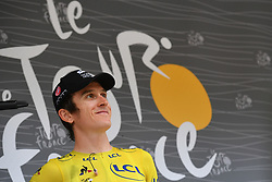 July 20, 2018 - Valence, FRANCE - British Geraint Thomas of Team Sky wearing the yellow jersey of overal leader pictured at the start of the 13th stage in the 105th edition of the Tour de France cycling race, from Bourg d'Oisans to Valence (169,5 km), France, Friday 20 July 2018. This year's Tour de France takes place from July 7th to July 29th...BELGA PHOTO DAVID STOCKMAN (Credit Image: © David Stockman/Belga via ZUMA Press)