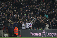 Tottenham Hotspur fans from Korea react after Tottenham Hotspur's third goal of the game. <br /> Premier league match, Tottenham Hotspur v Everton at Wembley Stadium in London on Saturday 13th January 2018.<br /> pic by Kieran Clarke, Andrew Orchard sports photography.