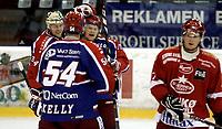 Ishockey<br /> GET-Ligaen<br /> 18.09.08<br /> Jordal Amfi<br /> Vålerenga VIF - Stjernen<br /> Lars Erik Lund og Steffen Thoresen jubler for 4-1 med Regan Kelly - t.v. depper Dan Nygård<br /> Foto - Kasper Wikestad