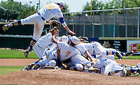 The Lincoln High School Fighting Zebra's, celebrate their 9-7 win of Placer High School in the Sac-Joaquin Section Division IV championships at Sacramento City College, Monday May 25, 2015.<br /> Brian Baer/Special to the Bee