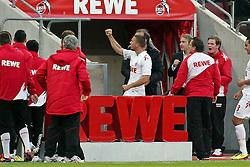 16.10.2011,  Rhein Energie Stadion, Koeln, GER, 1.FBL, 1. FC Koeln vs Hannover 96 ,im Bild.Torjubel / Jubel  nach dem 1:0 durch Lukas Podolski (Koeln #10). Er jubelt zu einer Person auf der Tribüne..// during the 1.FBL, 1. FC Koeln vs Hannover 96 on 2011/10/16, Rhein-Energie Stadion, Köln, Germany. EXPA Pictures © 2011, PhotoCredit: EXPA/ nph/  Mueller *** Local Caption ***       ****** out of GER / CRO  / BEL ******