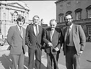 1983-11-83.11th Octoer 1983.11-10-1983.10-11-83..Photographed at Seanad Éireann..Shine on:..Four members of Seanad Éireann enjoy the rare rays of an October sun outside the Upper House of the Oireachtas in Dublin..