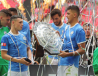 Football - 2019 FA Community Shield - Liverpool vs. Manchester City<br /> <br /> Man City new signing, Rodrigo and Ben Foden with the Community Shield, at Wembley Stadium.<br /> <br /> COLORSPORT/ANDREW COWIE