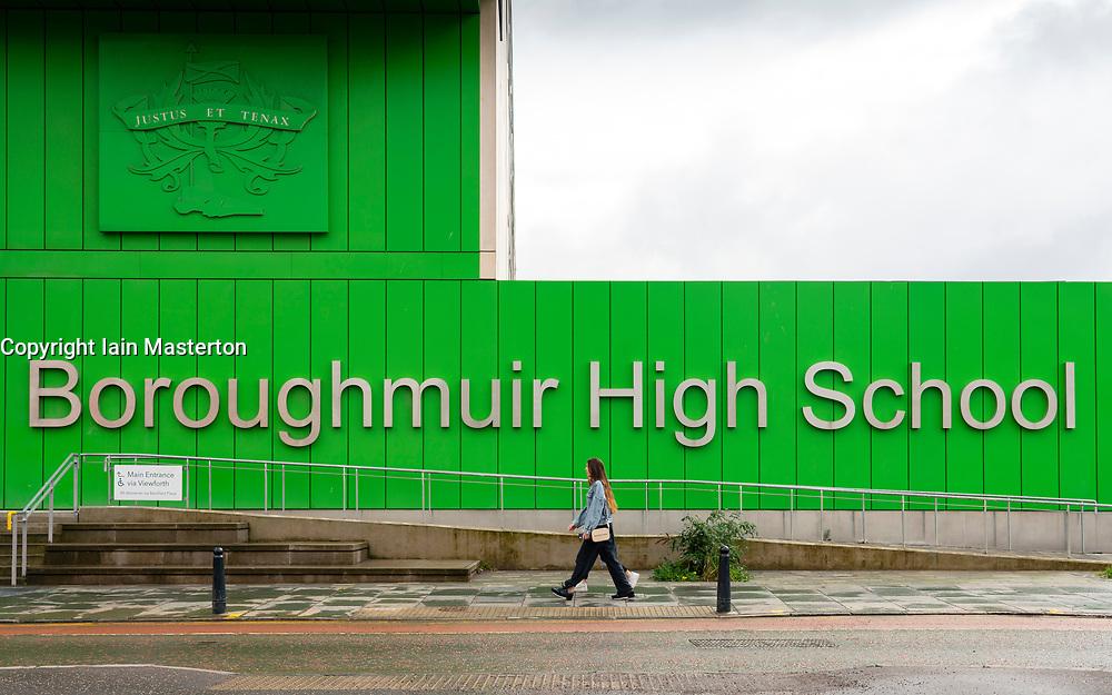 Exterior of modern architecture of new  Boroughmuir High School at Fountainbridge, Edinburgh, Scotland, UK