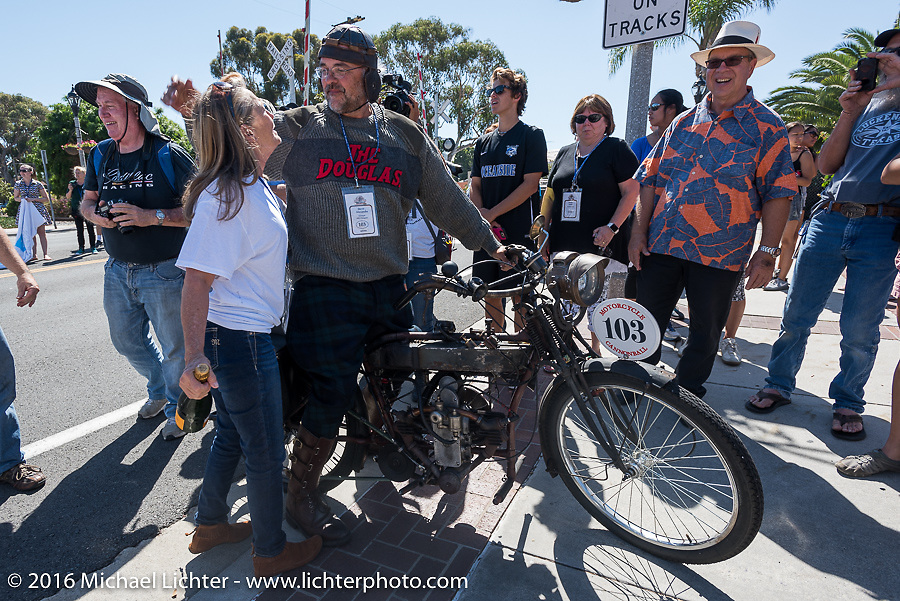 3,400 miles from the Atlantic to the Pacific - The journey is over. Steve Alexander with his 1913 Douglas as he crosses the finish line of the Motorcycle Cannonball Race of the Century. Stage-15 ride from Palm Desert, CA to Carlsbad, CA. USA. Sunday September 25, 2016. Photography ©2016 Michael Lichter.