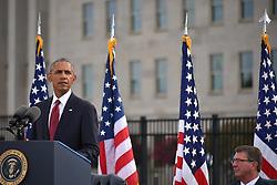 September 11, 2016 - Arlington, United States of America - U.S President Barack Obama speaks during a ceremony commemorating the 15th anniversary of the 9/11 terrorist attacks at the Pentagon September 11, 2016 in Arlington, Virginia. (Credit Image: © Po2 Patrick Kelley/Planet Pix via ZUMA Wire)