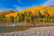Autumn colors and the Rivière Sainte-Anne in the Chic-Choc Mountains, a mountain range that is  part of the Notre Dame Mountains, which is a continuation of the Appalachian Mountains. This is a provincial parc, not a true federal park.<br />Parc national de la Gaspésie<br />Quebec<br />Canada