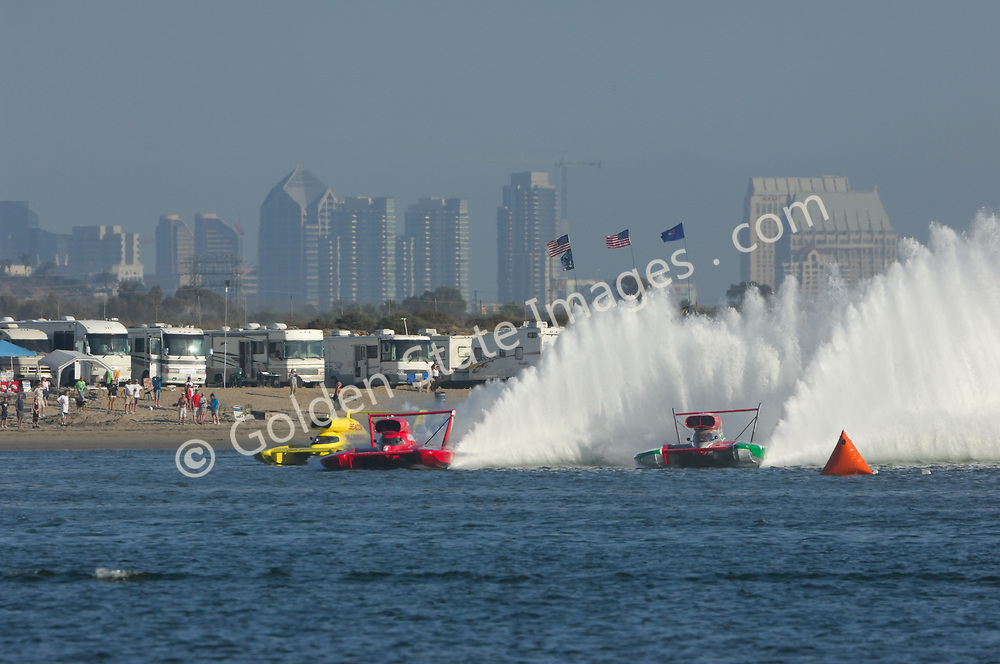 Turn 1, Lap 1, 2008 Finals.<br /> <br /> Three boats enter turn 1. Oh Boy Oberto goes to the lead. <br /> <br /> San Diego skyline in background.