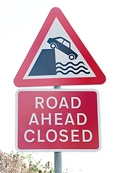 Road ahead closed sign after coastal erosion near to Mappleton; East Yorkshire; England