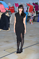 © Licensed to London News Pictures. 02/02/2016. London, UK. Daisy Lowe take part in a TK Maxx 'Give Up Clothes For Good' campaign in support of Cancer Research UK. Clothing donated to TK Maxx by the public will be used to raise funds for childhood cancer.  Photo credit: Ray Tang/LNP