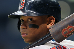 May 22, 2018 - St. Petersburg, FL, U.S. - ST. PETERSBURG, FL - MAY 22: Rafael Devers (11) of the Red Sox looks into the dugout during the MLB regular season game between the Boston Red Sox and the Tampa Bay Rays on May 22, 2018, at Tropicana Field in St. Petersburg, FL. (Photo by Cliff Welch/Icon Sportswire) (Credit Image: © Cliff Welch/Icon SMI via ZUMA Press)