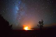 Halemaumau Crater with Milky Way, Kilauea Volcano, HVNP, Big Island of Hawaii