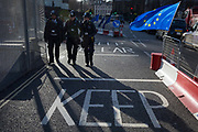 Two days before Brexit Day the date of 31st January 2020, when the UK legally exits the European Union, an EU flag flutters outside the entrance to parliament, in Parliament Square, Westminster, on 29th January 2020, in London, England.