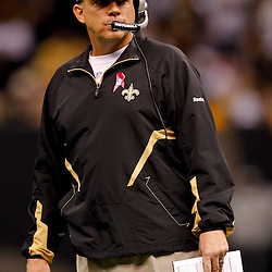 October 3, 2010; New Orleans, LA, USA; New Orleans Saints head coach Sean Payton on the field during a game against the Carolina Panthers at the Louisiana Superdome. The Saints defeated the Panthers 16-14. Mandatory Credit: Derick E. Hingle