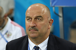 July 7, 2018 - Sochi, Russia - July 07, 2018, Sochi, FIFA World Cup 2018, the playoff round. 1/4 finals of the World Cup. Football match Russia - Croatia at the stadium Fisht. Player of the national team Stanislav Cherchesov (Credit Image: © Russian Look via ZUMA Wire)