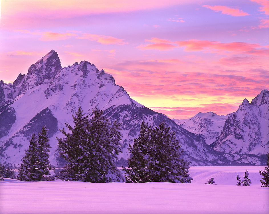 Alpenglow on Snow and Teton Mts, WY.
