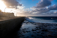 The Malecon/Sea Wall on a Sunday evening in the Vedado, Havana.