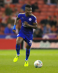 """Leicester City's Daniel Amartey during the Carabao Cup, Second Round match at Bramall Lane, Sheffield. PRESS ASSOCIATION Photo. Picture date: Tuesday August 22, 2017. See PA story SOCCER Sheff Utd. Photo credit should read: Tim Goode/PA Wire. RESTRICTIONS: EDITORIAL USE ONLY No use with unauthorised audio, video, data, fixture lists, club/league logos or """"live"""" services. Online in-match use limited to 75 images, no video emulation. No use in betting, games or single club/league/player publications."""